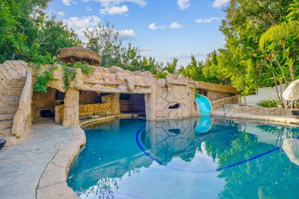 backyard pool of princes mansion