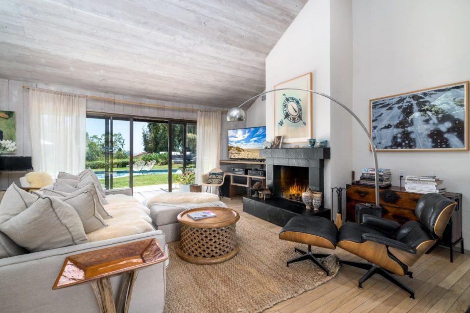 living room inside surf legends malibu beach pad