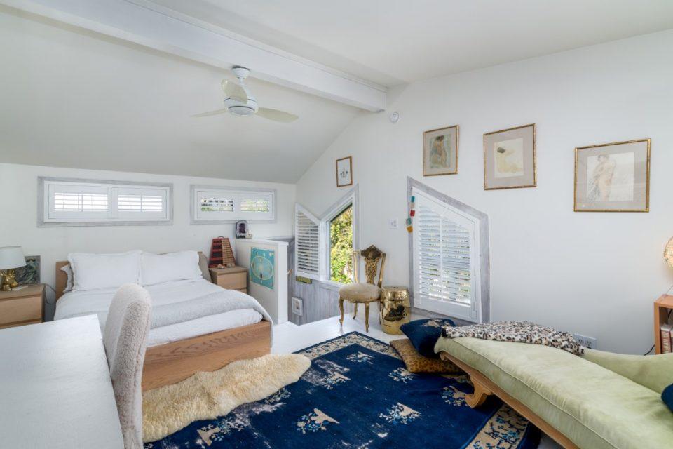 upstairs bedroom in surf legends malibu beach pad