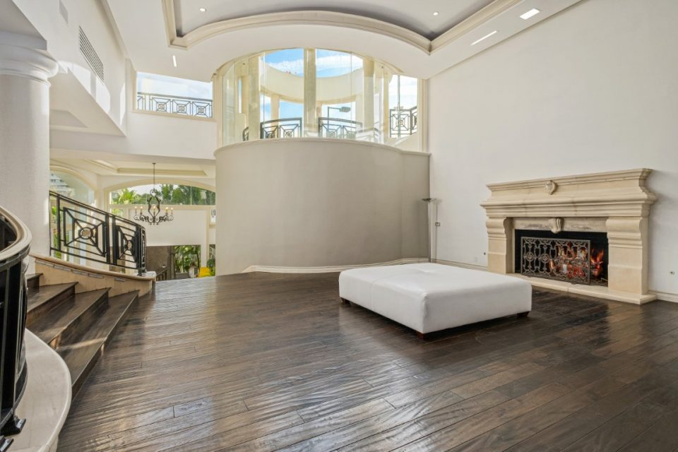 wooden floor and fireplace in princes mansion